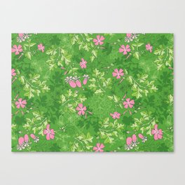 Forest Wildflowers / Green Background Canvas Print