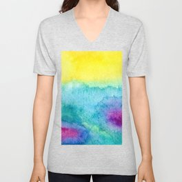 Modern neon yellow blue hand painted watercolor Unisex V-Neck