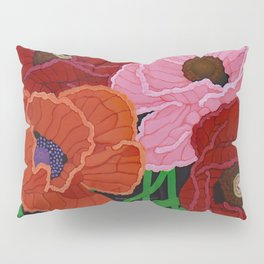Four Poppies and Seed Pods, acrylic, 2010 Pillow Sham