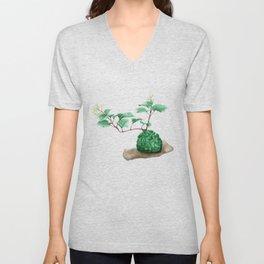 Watercolor Illustration of a Moss Jade Unisex V-Neck