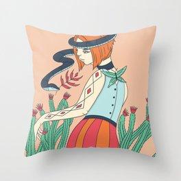 Cactus Snake Woman Throw Pillow
