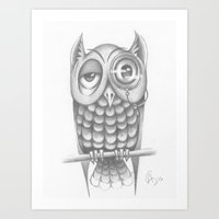 Art Print featuring Wise Old Owl by C. Dunning