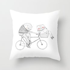 bicycle cat Throw Pillow