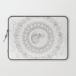 Mandala with Full Moon and Constellations Illustration Laptop Sleeve