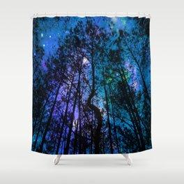 Black Trees Teal Purple Space Shower Curtain