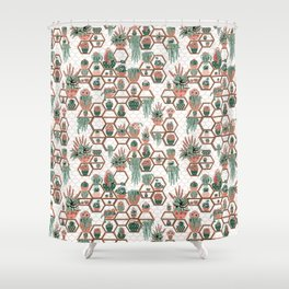 Succulent Garden. Echeveria, Cacti, plants, aloe vera, pachyveria, haworthia, holiday gift Shower Curtain