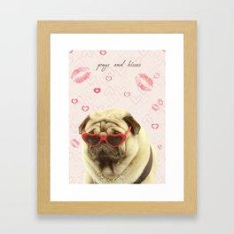 Pug face sunglasses,pugs and kisses Framed Art Print