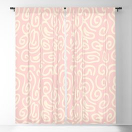 Abstract pastel pink ivory geometrical swirls pattern Blackout Curtain