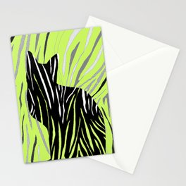 Black House Cat on Grass Stationery Cards