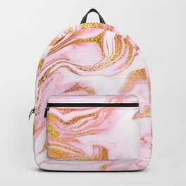 Rose Gold Marble Agate Geode Backpack