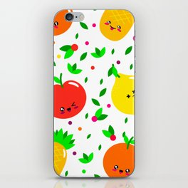 Cute & Whimsical Fruit Pattern with Kawaii Faces iPhone Skin