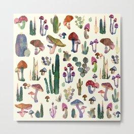 mushrooms and cactus Metal Print