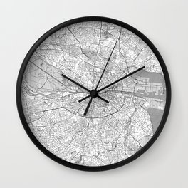 Dublin Map Line Wall Clock