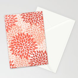 Flowers Pattern, Coral, Pink, Floral Prints Stationery Cards