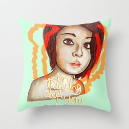 i´m thinking about you Throw Pillow