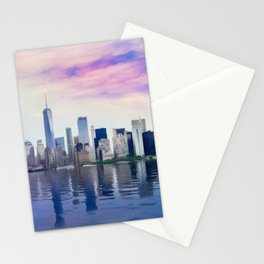 Pastel drawing of the New York Manhattan Skyline Stationery Cards