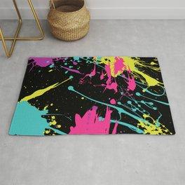 Splatter Paint Black Rug