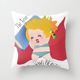 The true stroy of Sleeping Beauty / La verdadera historia de la Bella durmiente Throw Pillow