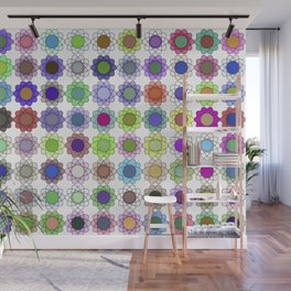 Multi-color atomic flowers Wall Mural