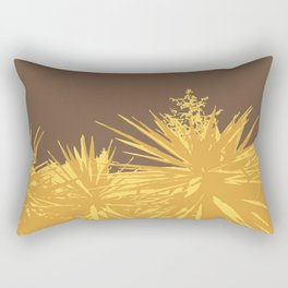 Mustard yucca leaves on toffee background Rectangular Pillow