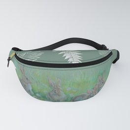 Rabbits on the meadow Fanny Pack