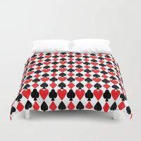 suits Duvet Covers featuring French Suits by Jennifer Agu