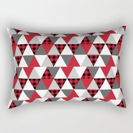 Quilt pattern buffalo check pattern red black and white with grey minimal camping Rectangular Pillow