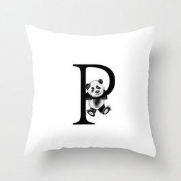 Letter Panda Throw Pillow