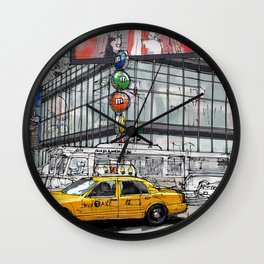 A corner in New York city and a yellow cab Wall Clock