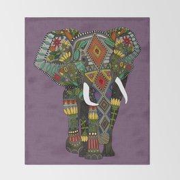 floral elephant violet Throw Blanket