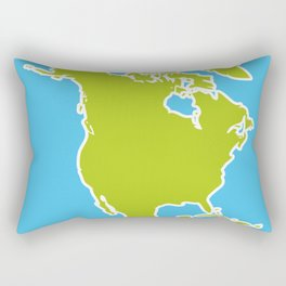 North America Map Green continent on blue background. Vector illustration Rectangular Pillow