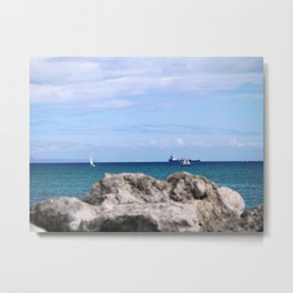 Sailing behind the rock Metal Print