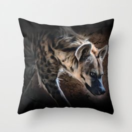 Spotted Hyena In The Shadows Throw Pillow