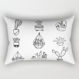 Minimalist Cacti Collection Black and White Rectangular Pillow