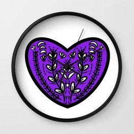 Purple Folk Heart Wall Clock