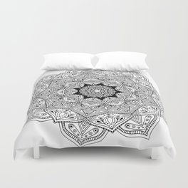 paisley black and white hippie boho mandala Duvet Cover