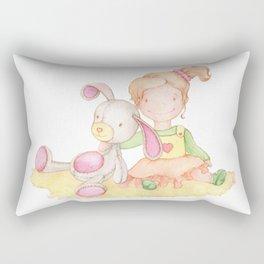 Baby girl and her bunny Rectangular Pillow