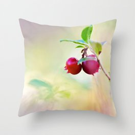 Macro shot of cowberry in forest Throw Pillow