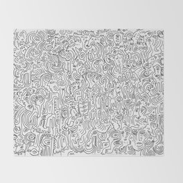 Graffiti Black and White Pattern Doodle Hand Designed Scan Throw Blanket