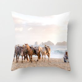 Horses and a horseman Throw Pillow