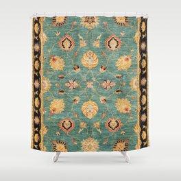 Oushak  Antique Gold Teal Turkish Rug Print Shower Curtain