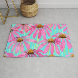 Pink Coneflowers On Turquoise - Watercolor Floral  Rug