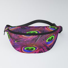 Day Glow Peacock Feathers Fanny Pack