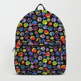 Rainbow Paw Print Watercolor Pattern Backpack