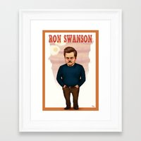 ron swanson Framed Art Prints featuring Ron Swanson by Fernanda Suarez