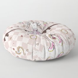 Pastel Cupcake Dessert Girl Floor Pillow