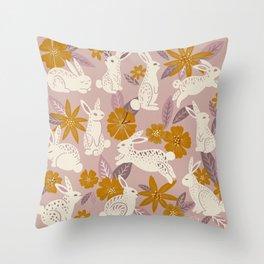 Bunnies & Blooms – Mauve & Ochre Palette Throw Pillow