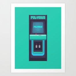 Polybius Arcade Game Machine Cabinet - Front Green Art Print