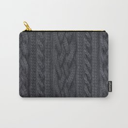 Charcoal Cable Knit Carry-All Pouch