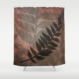 Pantone Living Coral Abstract Grunge with Fern Leaf - Foliage Silhouettes Shower Curtain